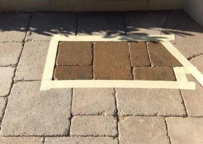 Stone patio color staining - sample by Alex Stone and Tile Services.
