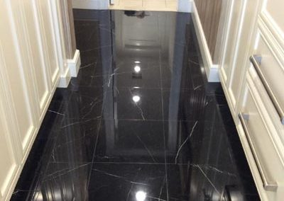 Onyx Floor Tile Hallway Cleaned and Polished by Alex Stone and Tile Services