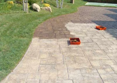 Stone Walkway Cleaning-in-Progress by Alex Stone and Tile Services.