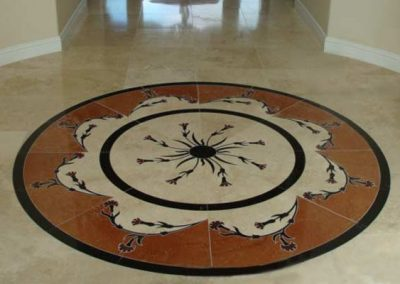 Marble Floor Medallion Cleaned, Sealed and Polished by Alex Stone and Tile Services