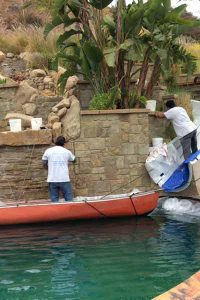 Water Feature Wall - stone restoration service by Alex Stone and Tile Services, Los Angeles.