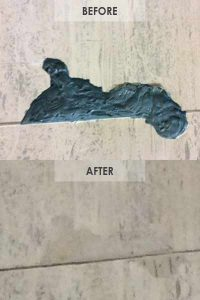 Travertine repair of deep blemish, before and after by Alex Stone and Tile Services, Los Angeles, San Fernando Valley, Pasadena, Ca.