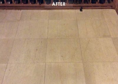 Wine Cellar Travertine Stain Removal AFTER - Alex Stone and Tile Services