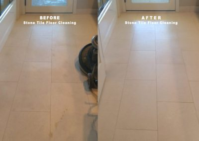 Stone Tile Floor Cleaning BEFORE AFTER-Alex Stone and Tile Services