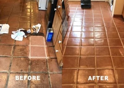 Kitchen Saltillo tile floor restoration-BEFORE and AFTER by Alex Stone and Tile Services