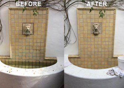 Tile Fountain Cleaning Before and After by Alex Stone and Tile Services, Los Angeles CA
